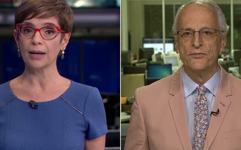 a1c2e5288 Renata Lo Prete e Jorge Pontual no Jornal da Globo  cores das roupas  chamaram a