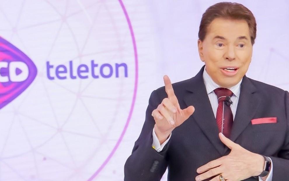 Silvio Santos no encerramento do Teleton em 2018: apresentador não participou da edição deste ano