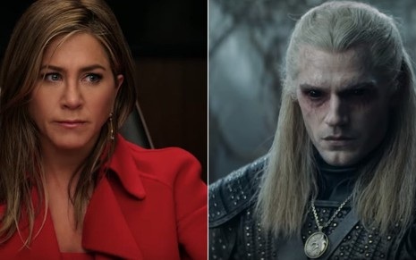 Jennifer Aniston em The Morning Show (da Apple) e Henry Cavill no drama The Witcher (da Netflix)
