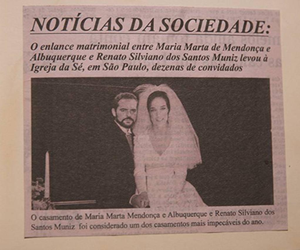 Página de jornal que noticia casamento entre Silviano e Marta