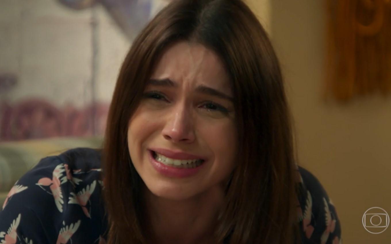 Sabrina Petraglia chorando como Shirlei de Haja Coração