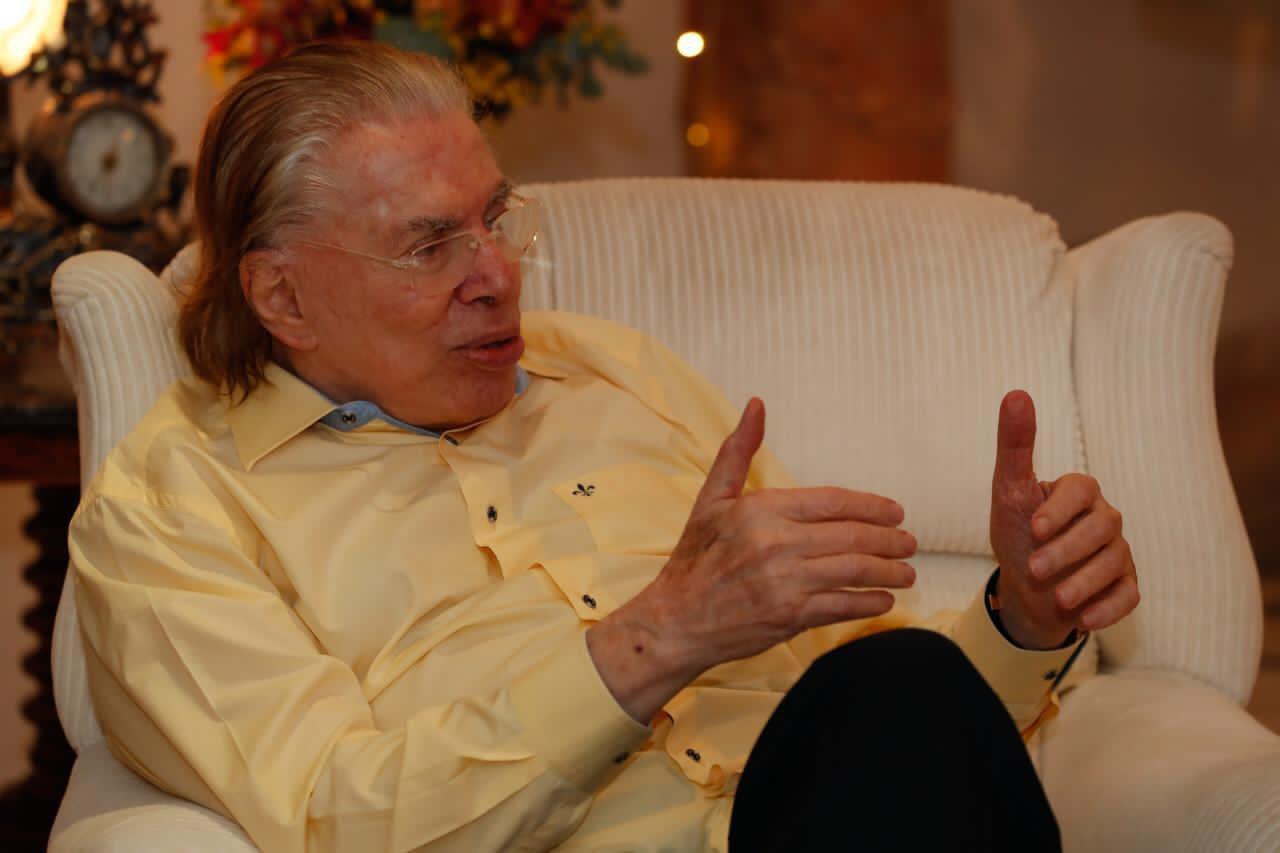 Silvio Santos durante visita de Bolsonaro