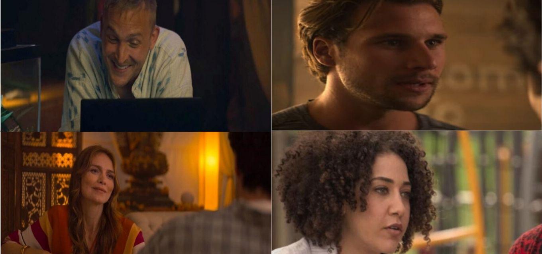 A partir da esquerda, em sentido horário, os personagens Will, Milo, Lucy e Dottie
