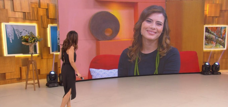 Fatima Bernardes dá boas vindas a Michelle Loreto no Encontro desta segunda-feira (8)